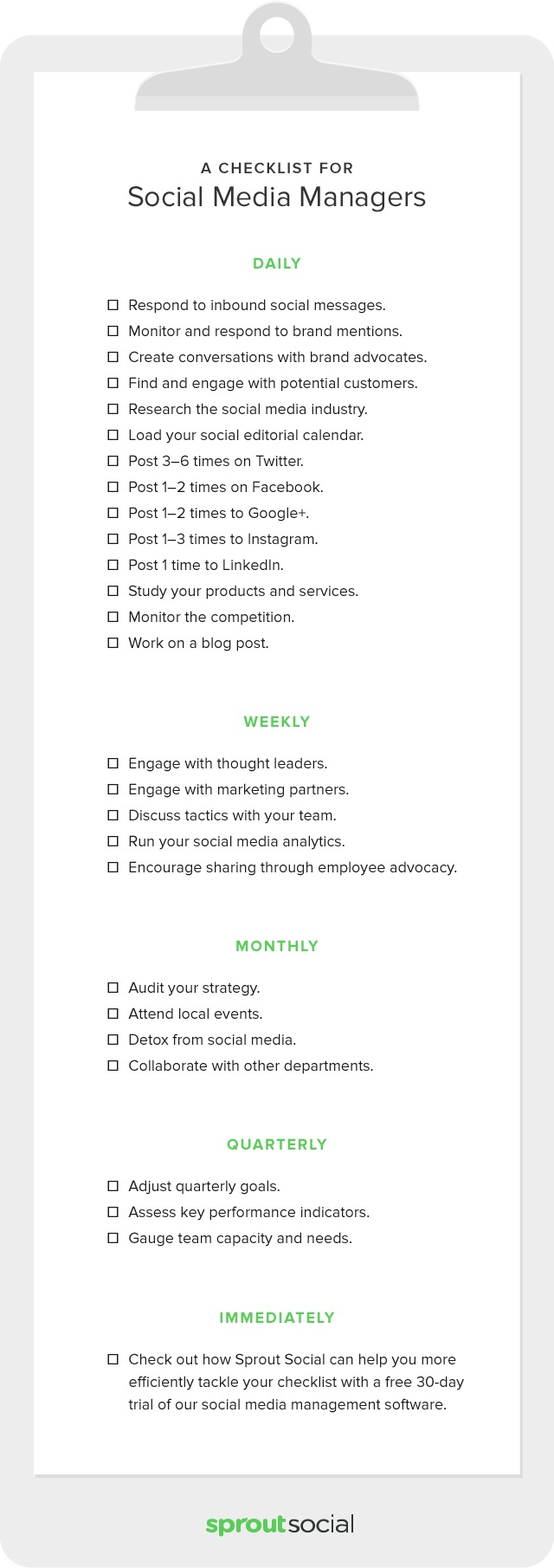 social-media checklist