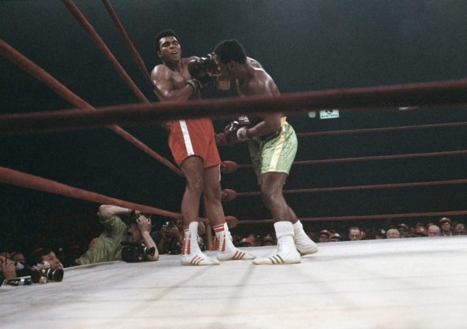 Muhammad Ali and Joe Frazier at Madison Square Garden during the Fight of the Century on March 8, 1971. Frazier won in the 15th round. Referee Art Mercante is shown on the right. AP Photo