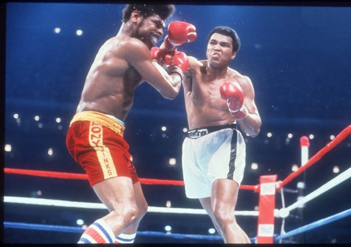 Muhammad Ali defeats Leon Spinks at the Louisiana Superdome in New Orleans, Sept. 15, 1978, to win the world heavyweight boxing title for the third time in his career, the first fighter ever to do so. Dirck Halstead/Liaison