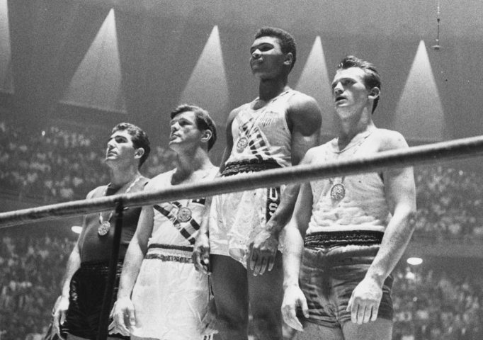Cassius Clay after winning the gold medal in the light heavyweight division at the 1960 Rome Olympics. Central Press/Getty Images