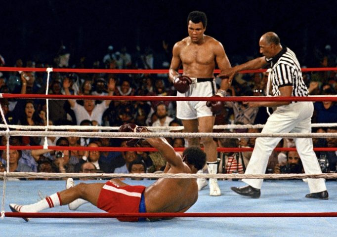 Muhammad Ali after knocking down George Foreman during their bout in Kinshasa, Zaire, Oct. 30, 1974. AP Photo